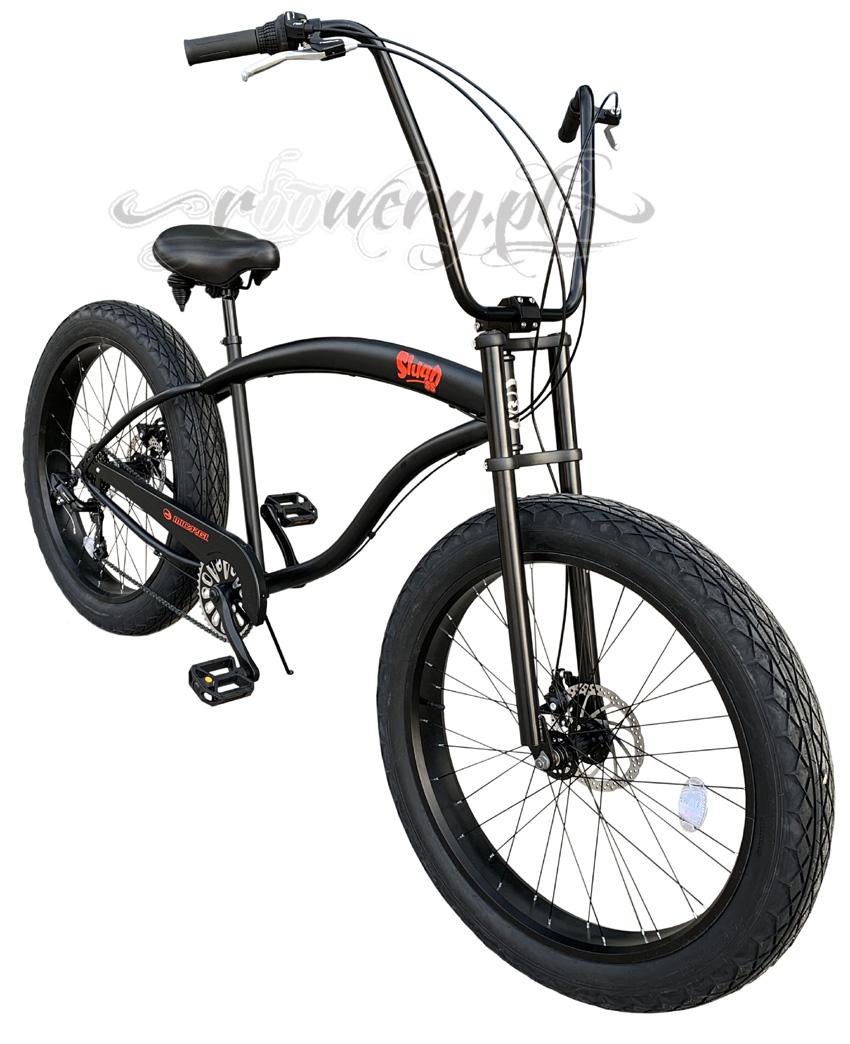 kliknij obrazek aby powiêkszyæ - Micargi Slugo SS Black bardzo du¿y wygodny rower FAT chopper www.roowery.pl